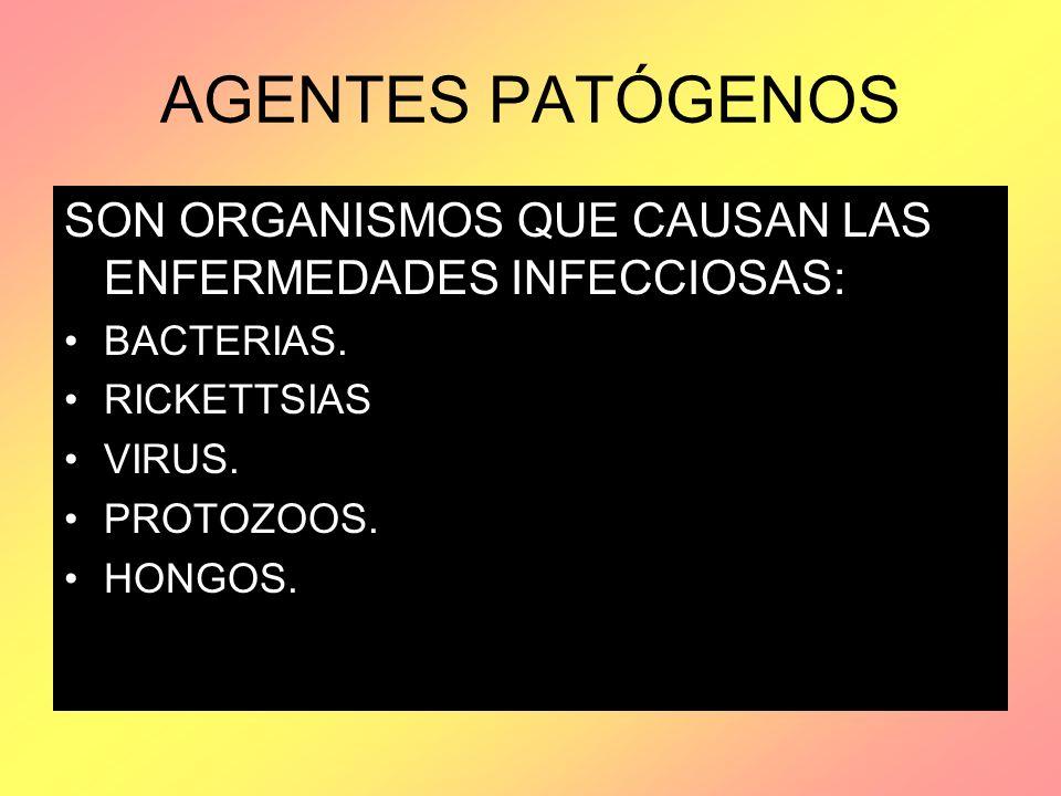 AGENTES PATÓGENOS SON ORGANISMOS QUE CAUSAN LAS ENFERMEDADES INFECCIOSAS: BACTERIAS. RICKETTSIAS VIRUS. PROTOZOOS. HONGOS.