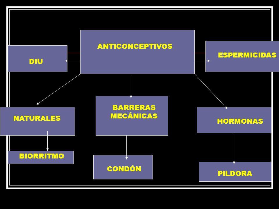 ANTICONCEPTIVOS NATURALES HORMONAS BARRERAS MECÁNICAS DIU ESPERMICIDAS BIORRITMO CONDÓN PILDORA