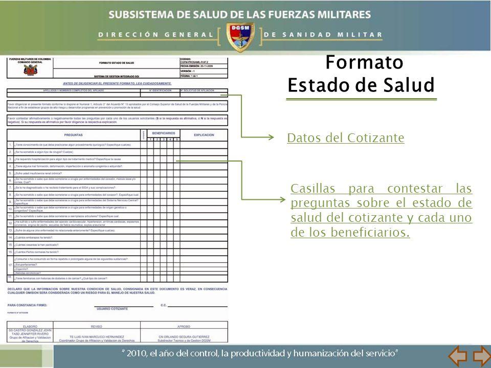 Formato Estado de Salud Datos del Cotizante Casillas para contestar las preguntas sobre el estado de salud del cotizante y cada uno de los beneficiari