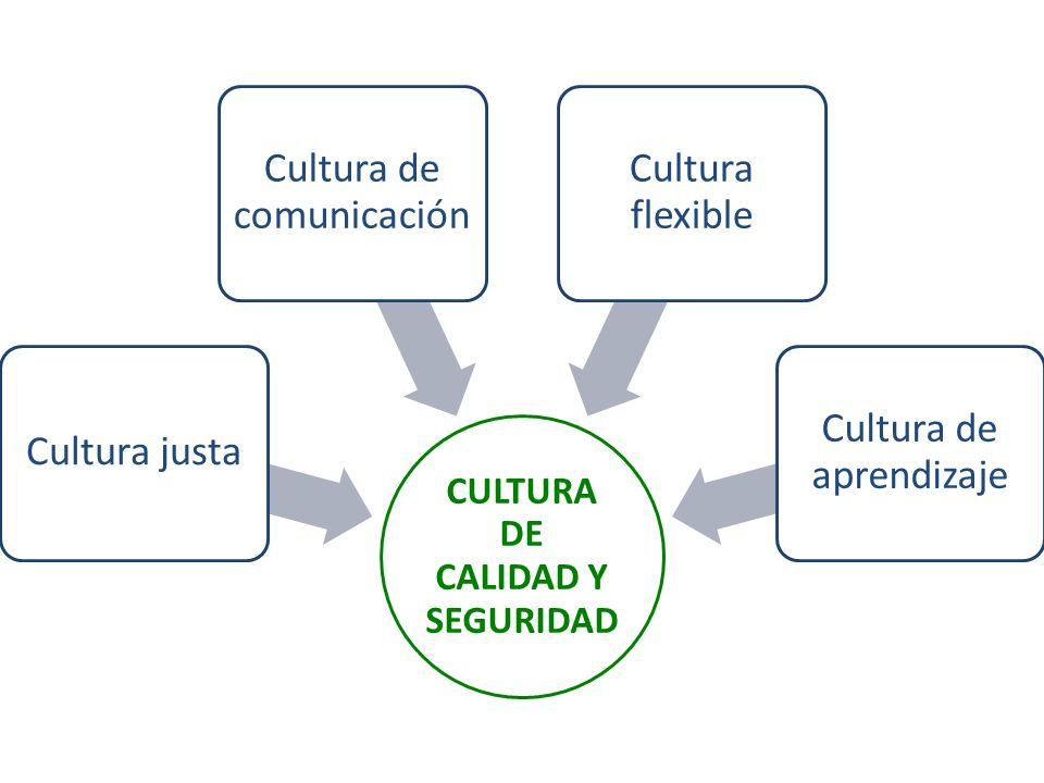 CULTURA DE CALIDAD Y SEGURIDAD Cultura justa Cultura de comunicación Cultura flexible Cultura de aprendizaje