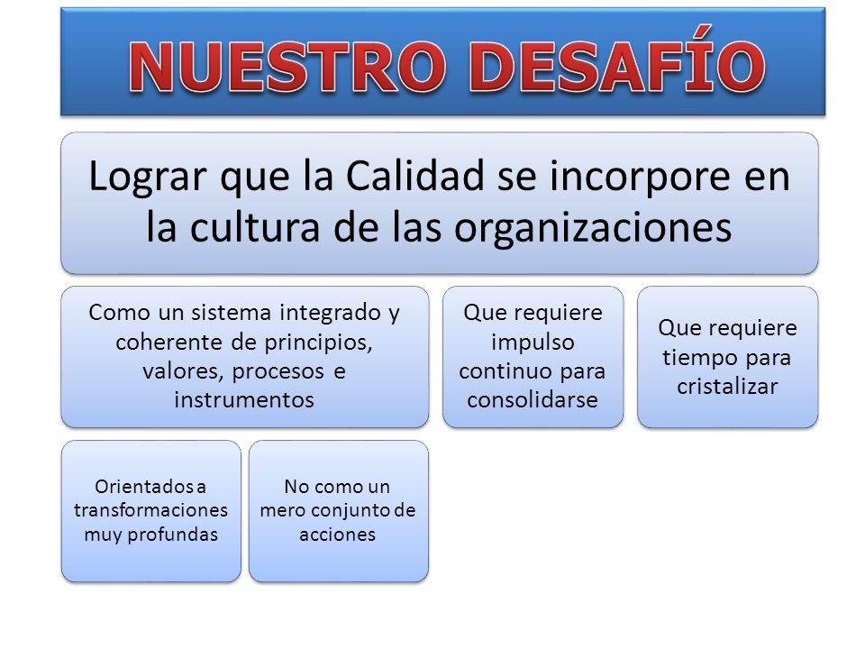 Lograr que la Calidad se incorpore en la cultura de las organizaciones Como un sistema integrado y coherente de principios, valores, procesos e instru