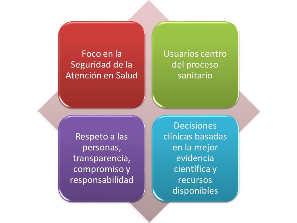 Foco en la Seguridad de la Atención en Salud Usuarios centro del proceso sanitario Respeto a las personas, transparencia, compromiso y responsabilidad