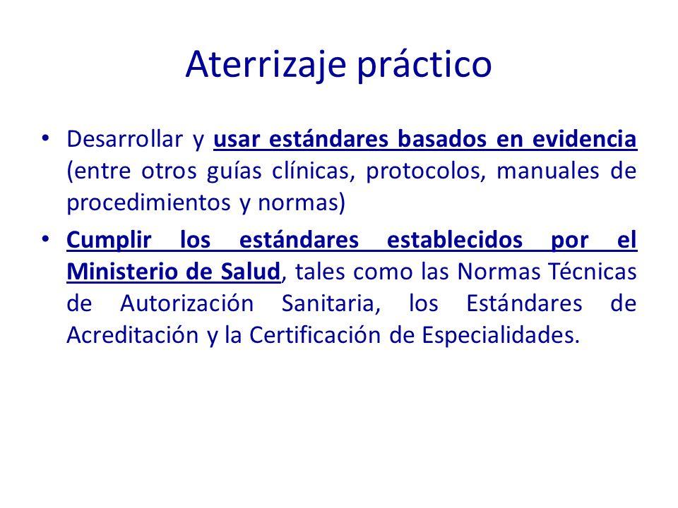 Aterrizaje práctico Desarrollar y usar estándares basados en evidencia (entre otros guías clínicas, protocolos, manuales de procedimientos y normas) C