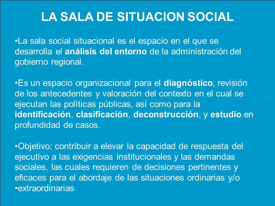La sala social situacional es el espacio en el que se desarrolla el análisis del entorno de la administración del gobierno regional. Es un espacio org