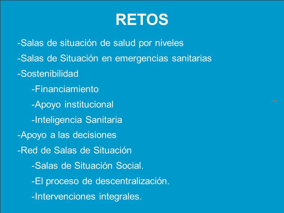 RETOS -Salas de situación de salud por niveles -Salas de Situación en emergencias sanitarias -Sostenibilidad -Financiamiento -Apoyo institucional -Int