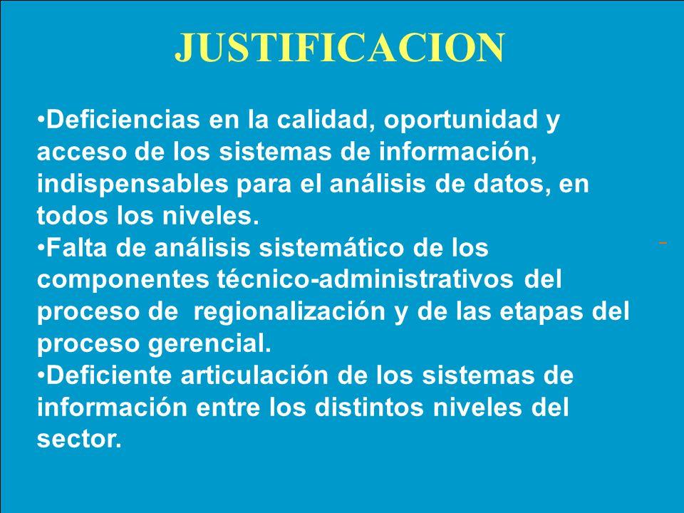 JUSTIFICACION Deficiencias en la calidad, oportunidad y acceso de los sistemas de información, indispensables para el análisis de datos, en todos los