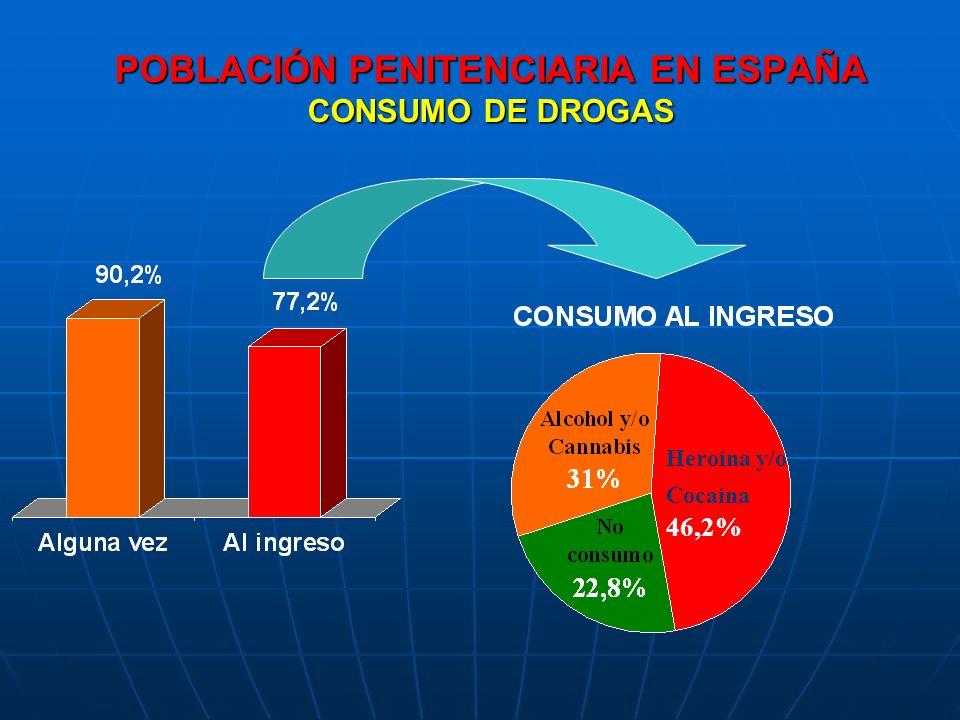 POBLACIÓN PENITENCIARIA EN ESPAÑA CONSUMO DE DROGAS Heroína y/o Cocaína 46,2%