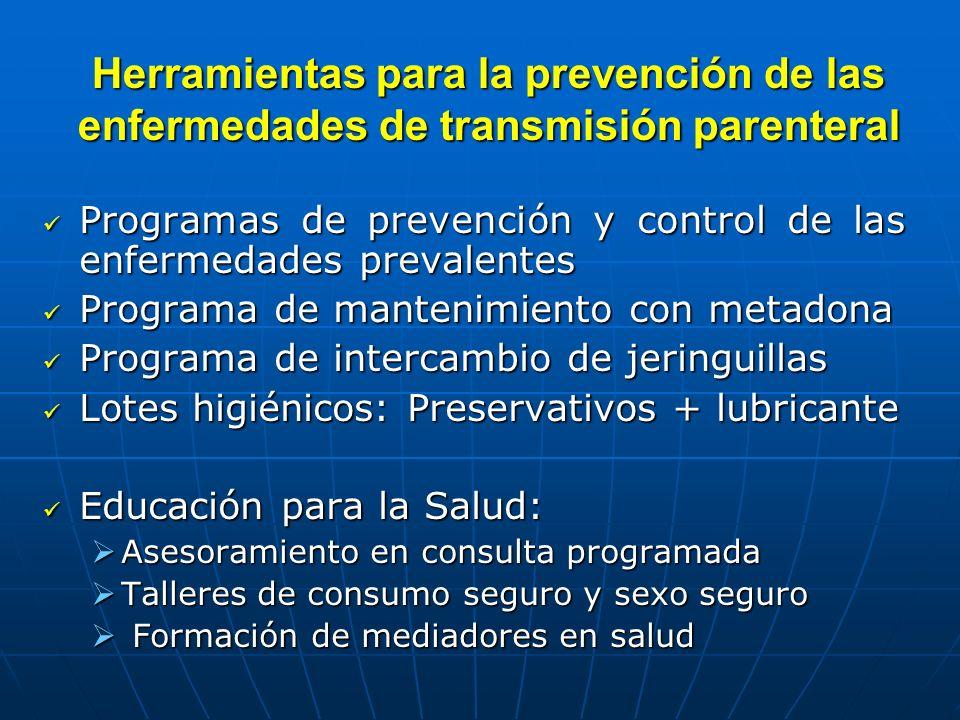 Herramientas para la prevención de las enfermedades de transmisión parenteral Programas de prevención y control de las enfermedades prevalentes Progra