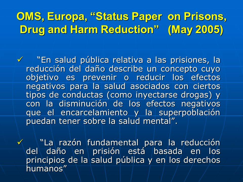 OMS, Europa, Status Paper on Prisons, Drug and Harm Reduction (May 2005) En salud pública relativa a las prisiones, la reducción del daño describe un
