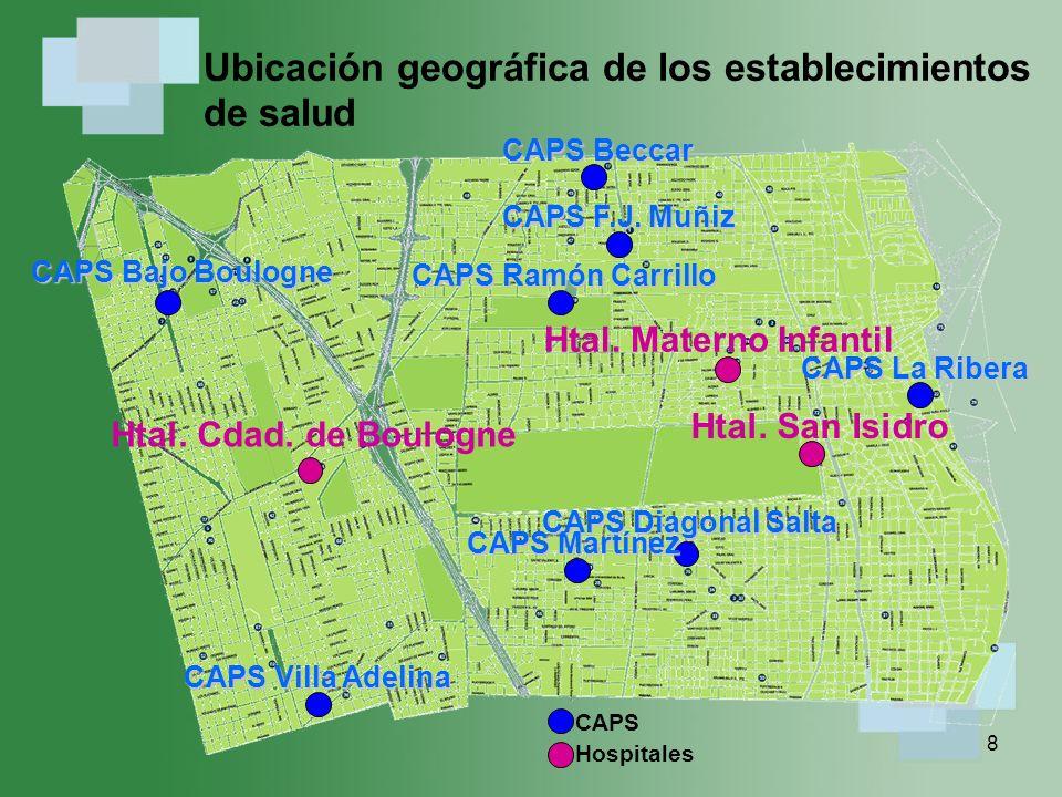 8 Ubicación geográfica de los establecimientos de salud Htal.