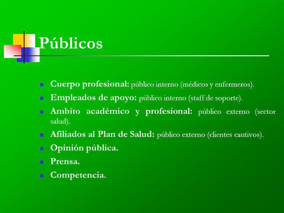 Públicos Cuerpo profesional: público interno (médicos y enfermeros).