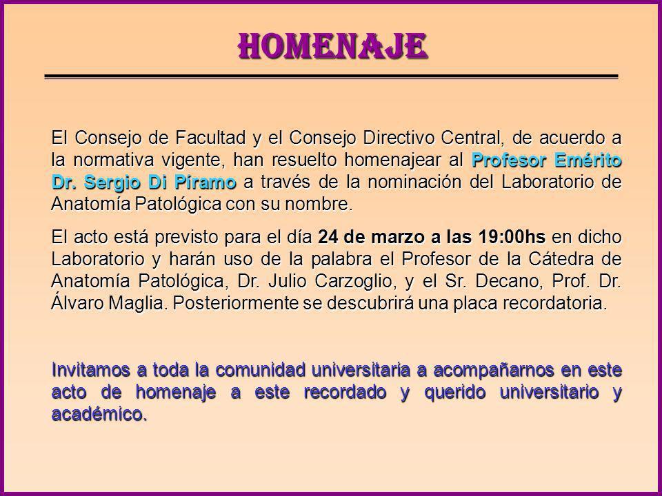 CONTENIDO Homenaje al Profesor Emérito Dr. Sergio Di Píramo Homenaje al Profesor Emérito Dr. Sergio Di Píramo Unidad de Publicaciones Unidad de Public
