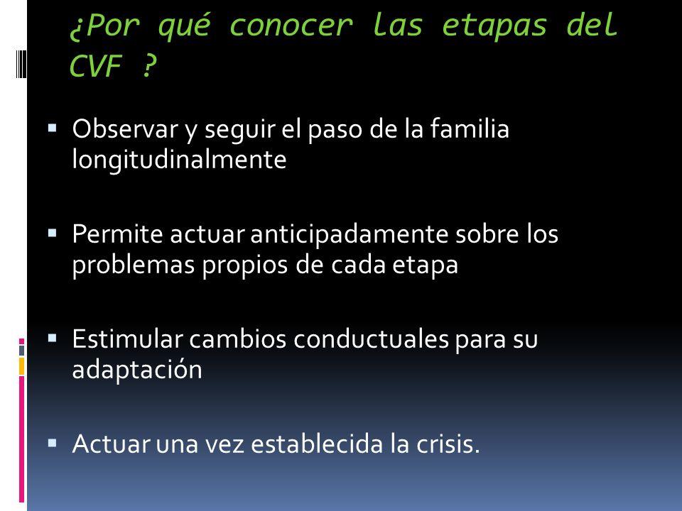 ¿Por qué conocer las etapas del CVF ? Observar y seguir el paso de la familia longitudinalmente Permite actuar anticipadamente sobre los problemas pro