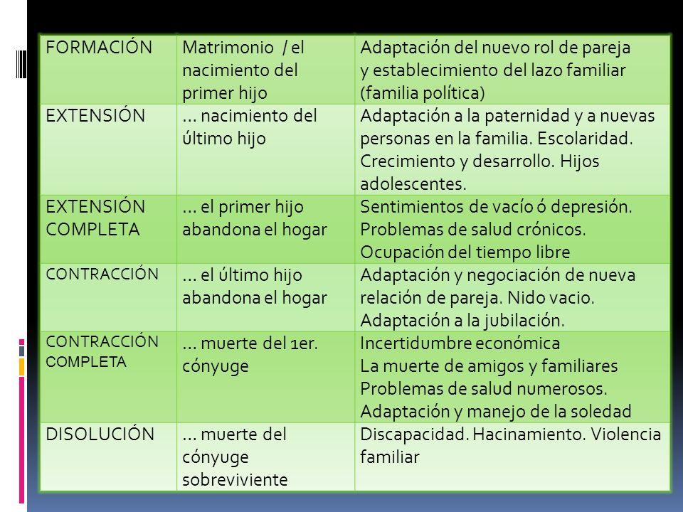 FORMACIÓNMatrimonio / el nacimiento del primer hijo Adaptación del nuevo rol de pareja y establecimiento del lazo familiar (familia política) EXTENSIÓ
