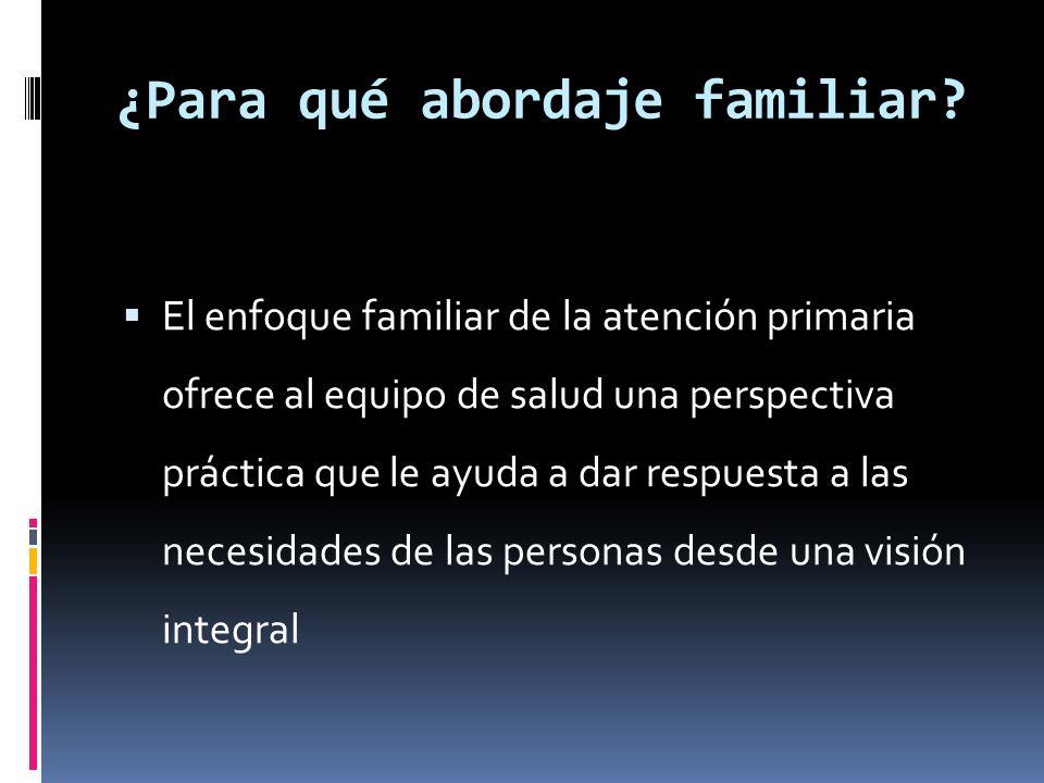 ¿Para qué abordaje familiar? El enfoque familiar de la atención primaria ofrece al equipo de salud una perspectiva práctica que le ayuda a dar respues
