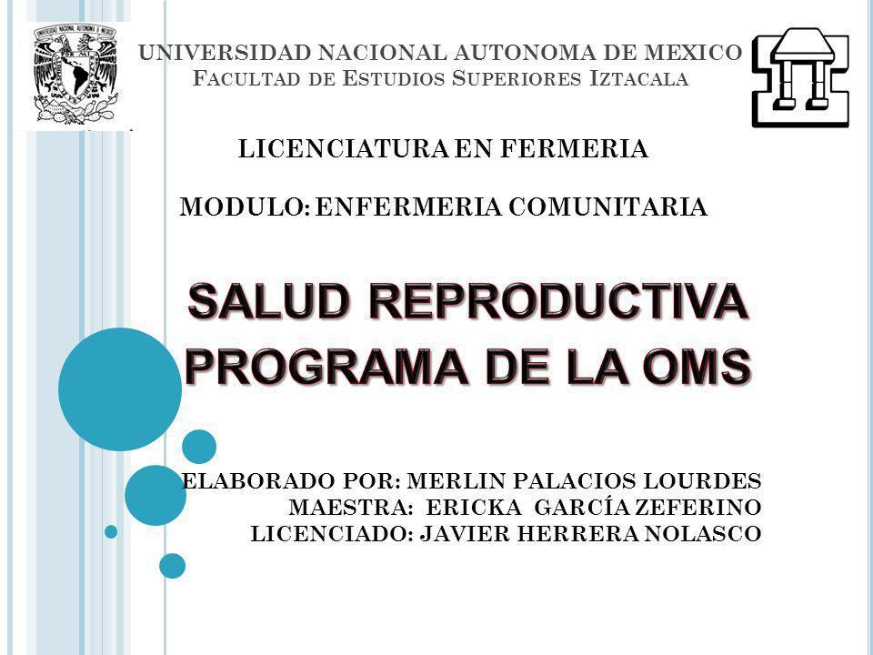 UNIVERSIDAD NACIONAL AUTONOMA DE MEXICO F ACULTAD DE E STUDIOS S UPERIORES I ZTACALA ELABORADO POR: MERLIN PALACIOS LOURDES MAESTRA: ERICKA GARCÍA ZEF