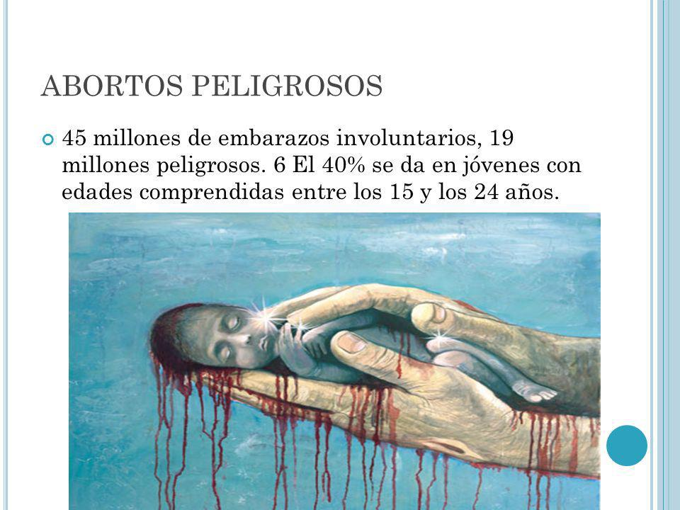 ABORTOS PELIGROSOS 45 millones de embarazos involuntarios, 19 millones peligrosos. 6 El 40% se da en jóvenes con edades comprendidas entre los 15 y lo