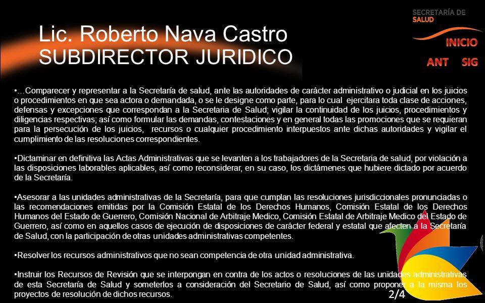 Lic. Roberto Nava Castro SUBDIRECTOR JURIDICO …Comparecer y representar a la Secretaría de salud, ante las autoridades de carácter administrativo o ju