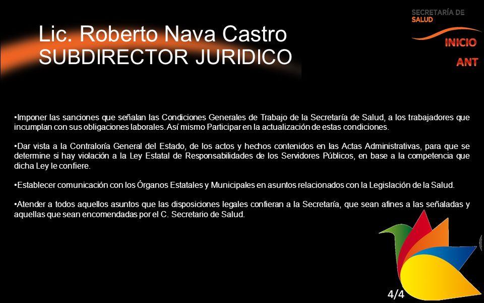 Lic. Roberto Nava Castro SUBDIRECTOR JURIDICO Imponer las sanciones que señalan las Condiciones Generales de Trabajo de la Secretaría de Salud, a los