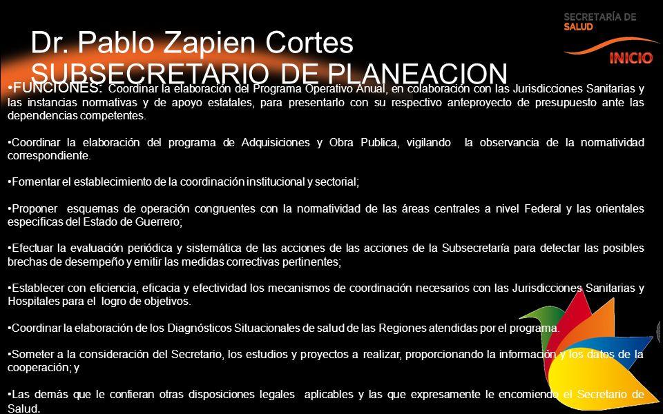 Dr. Pablo Zapien Cortes SUBSECRETARIO DE PLANEACION FUNCIONES: Coordinar la elaboración del Programa Operativo Anual, en colaboración con las Jurisdic