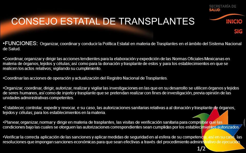 CONSEJO ESTATAL DE TRANSPLANTES FUNCIONES: Organizar, coordinar y conducir la Política Estatal en materia de Trasplantes en el ámbito del Sistema Nacional de Salud.