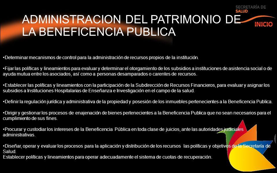 ADMINISTRACION DEL PATRIMONIO DE LA BENEFICENCIA PUBLICA Determinar mecanismos de control para la administración de recursos propios de la institución.