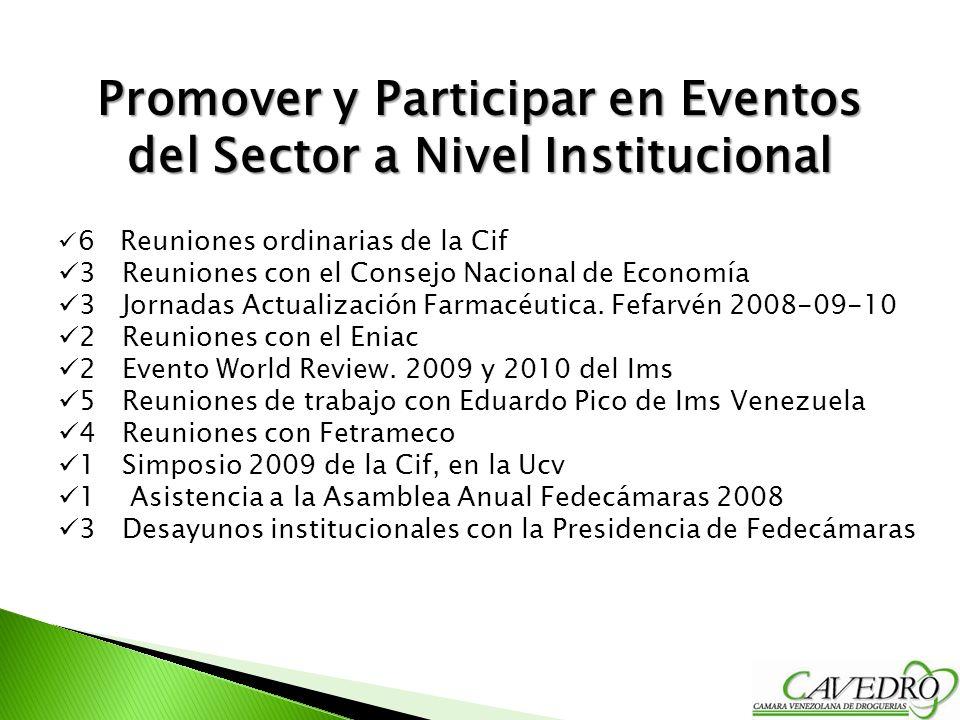 Promover y Participar en Eventos del Sector a Nivel Institucional 6 Reuniones ordinarias de la Cif 3 Reuniones con el Consejo Nacional de Economía 3 J