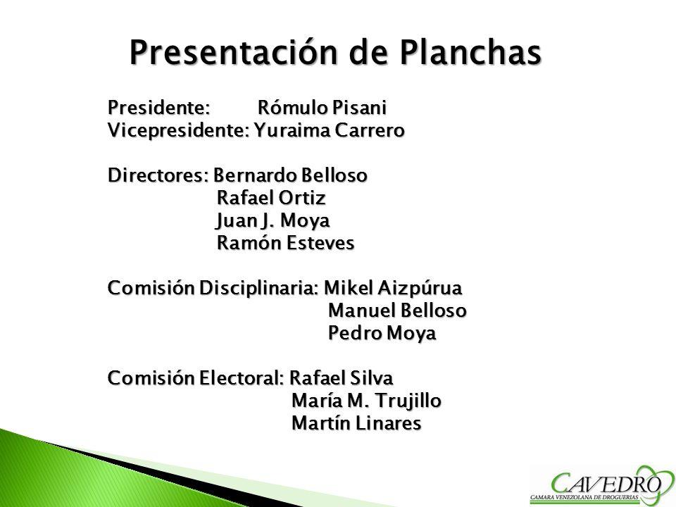Presentación de Planchas Presidente: Rómulo Pisani Vicepresidente: Yuraima Carrero Directores: Bernardo Belloso Rafael Ortiz Rafael Ortiz Juan J. Moya