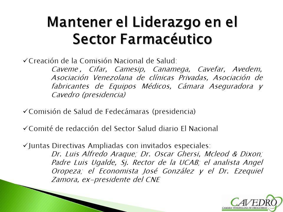 Mantener el Liderazgo en el Sector Farmacéutico Creación de la Comisión Nacional de Salud: Caveme, Cifar, Camesip, Canamega, Cavefar, Avedem, Asociaci