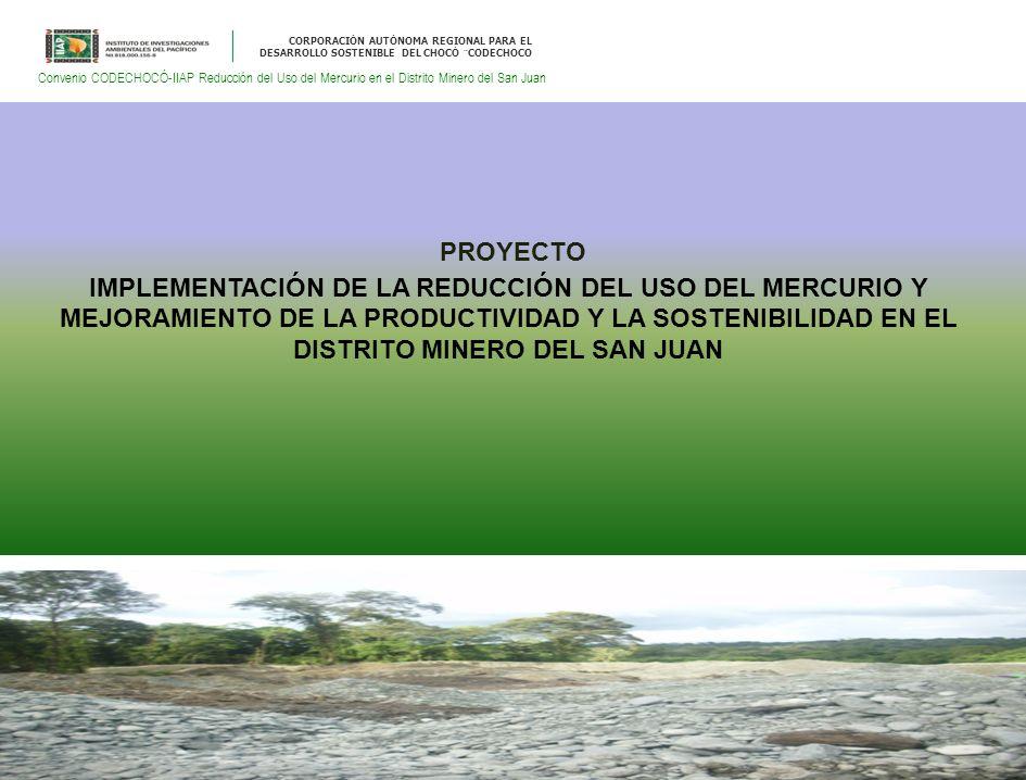 CORPORACIÓN AUTÓNOMA REGIONAL PARA EL DESARROLLO SOSTENIBLE DEL CHOCÓ ¨CODECHOCO Convenio CODECHOCÓ-IIAP Reducción del Uso del Mercurio en el Distrito Minero del San Juan PROYECTO IMPLEMENTACIÓN DE LA REDUCCIÓN DEL USO DEL MERCURIO Y MEJORAMIENTO DE LA PRODUCTIVIDAD Y LA SOSTENIBILIDAD EN EL DISTRITO MINERO DEL SAN JUAN