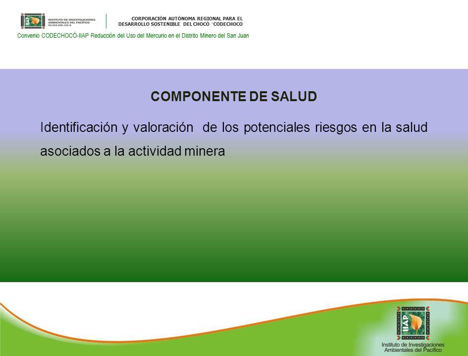 CORPORACIÓN AUTÓNOMA REGIONAL PARA EL DESARROLLO SOSTENIBLE DEL CHOCÓ ¨CODECHOCO Convenio CODECHOCÓ-IIAP Reducción del Uso del Mercurio en el Distrito Minero del San Juan CORPORACIÓN AUTÓNOMA REGIONAL PARA EL DESARROLLO SOSTENIBLE DEL CHOCÓ ¨CODECHOCO Convenio CODECHOCÓ-IIAP Reducción del Uso del Mercurio en el Distrito Minero del San Juan COMPONENTE DE SALUD Identificación y valoración de los potenciales riesgos en la salud asociados a la actividad minera