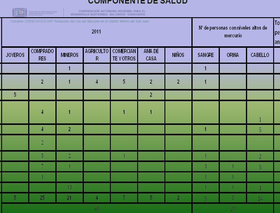 CORPORACIÓN AUTÓNOMA REGIONAL PARA EL DESARROLLO SOSTENIBLE DEL CHOCÓ ¨CODECHOCO Convenio CODECHOCÓ-IIAP Reducción del Uso del Mercurio en el Distrito Minero del San Juan CORPORACIÓN AUTÓNOMA REGIONAL PARA EL DESARROLLO SOSTENIBLE DEL CHOCÓ ¨CODECHOCO Convenio CODECHOCÓ-IIAP Reducción del Uso del Mercurio en el Distrito Minero del San Juan COMPONENTE DE SALUD