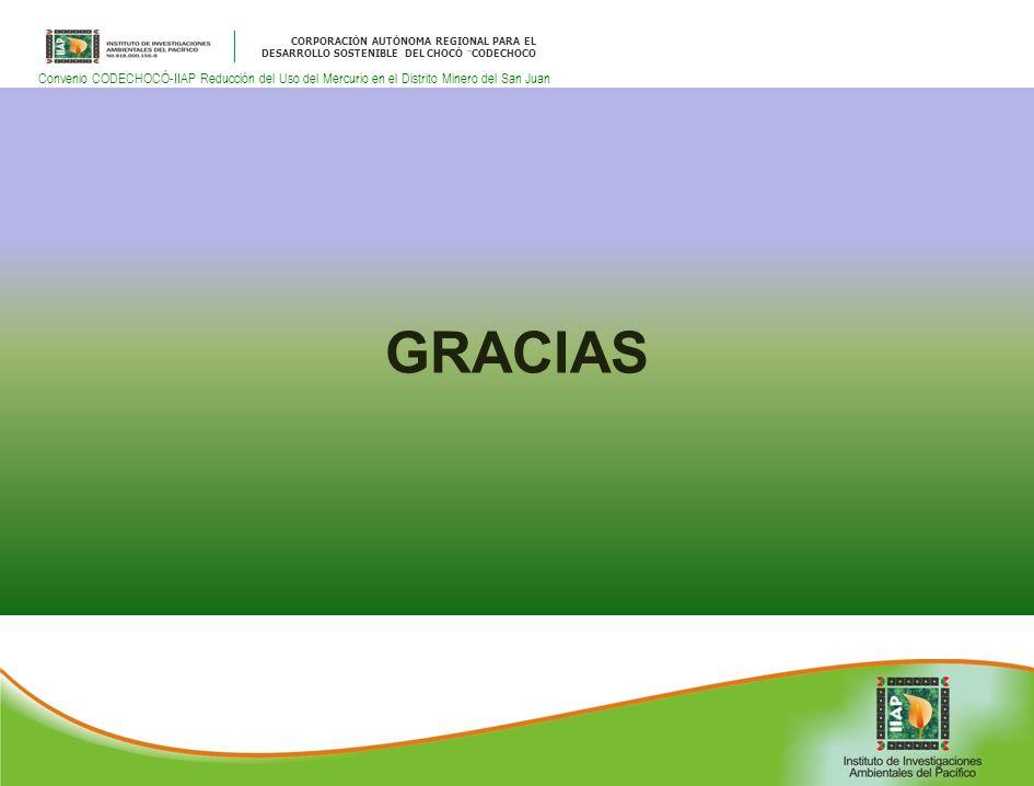 CORPORACIÓN AUTÓNOMA REGIONAL PARA EL DESARROLLO SOSTENIBLE DEL CHOCÓ ¨CODECHOCO Convenio CODECHOCÓ-IIAP Reducción del Uso del Mercurio en el Distrito Minero del San Juan GRACIAS