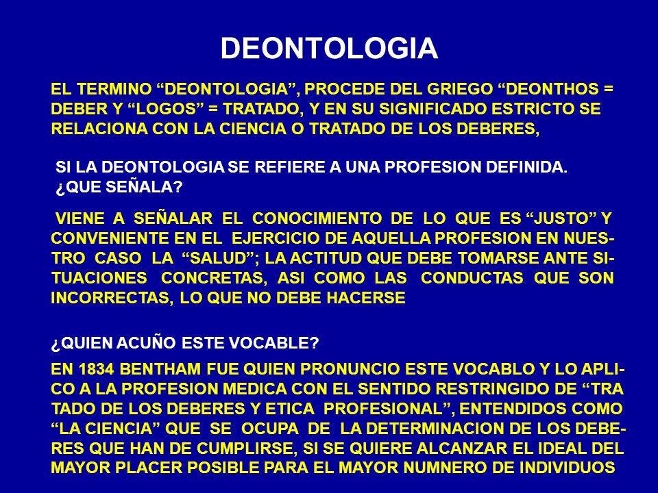 DEONTOLOGIA EL TERMINO DEONTOLOGIA, PROCEDE DEL GRIEGO DEONTHOS = DEBER Y LOGOS = TRATADO, Y EN SU SIGNIFICADO ESTRICTO SE RELACIONA CON LA CIENCIA O