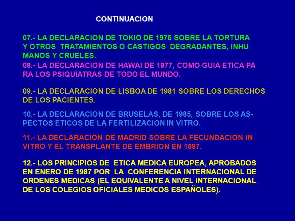CONTINUACION 07.- LA DECLARACION DE TOKIO DE 1975 SOBRE LA TORTURA Y OTROS TRATAMIENTOS O CASTIGOS DEGRADANTES, INHU MANOS Y CRUELES. 08.- LA DECLARAC