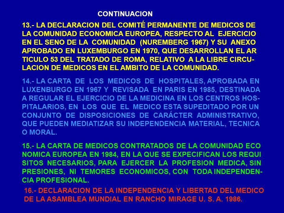 CONTINUACION 13.- LA DECLARACION DEL COMITÉ PERMANENTE DE MEDICOS DE LA COMUNIDAD ECONOMICA EUROPEA, RESPECTO AL EJERCICIO EN EL SENO DE LA COMUNIDAD