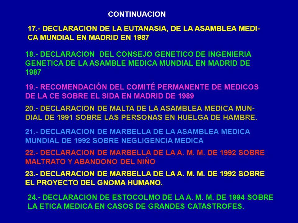 CONTINUACION 17.- DECLARACION DE LA EUTANASIA, DE LA ASAMBLEA MEDI- CA MUNDIAL EN MADRID EN 1987 18.- DECLARACION DEL CONSEJO GENETICO DE INGENIERIA G