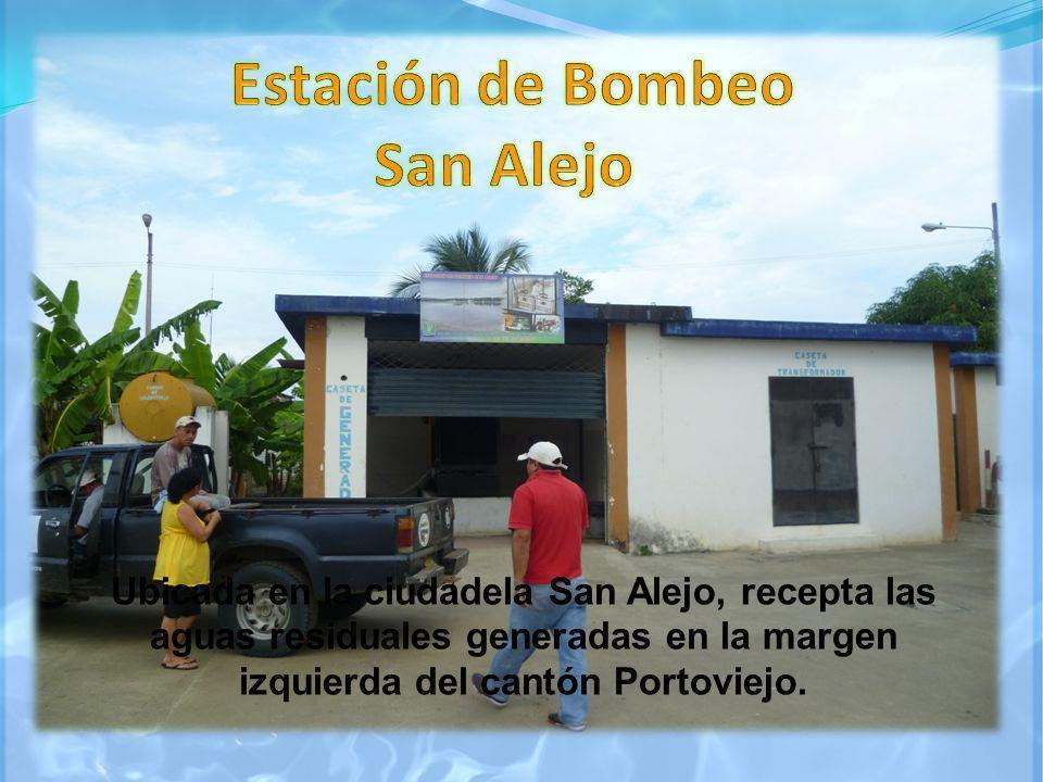 Ubicada en la ciudadela San Alejo, recepta las aguas residuales generadas en la margen izquierda del cantón Portoviejo.