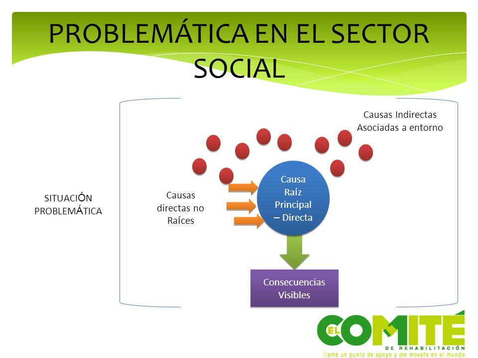 PROBLEMÁTICA EN EL SECTOR SOCIAL Causa Ra í z Principal – Directa SITUACI Ó N PROBLEM Á TICA Causas Indirectas Asociadas a entorno Causas directas no