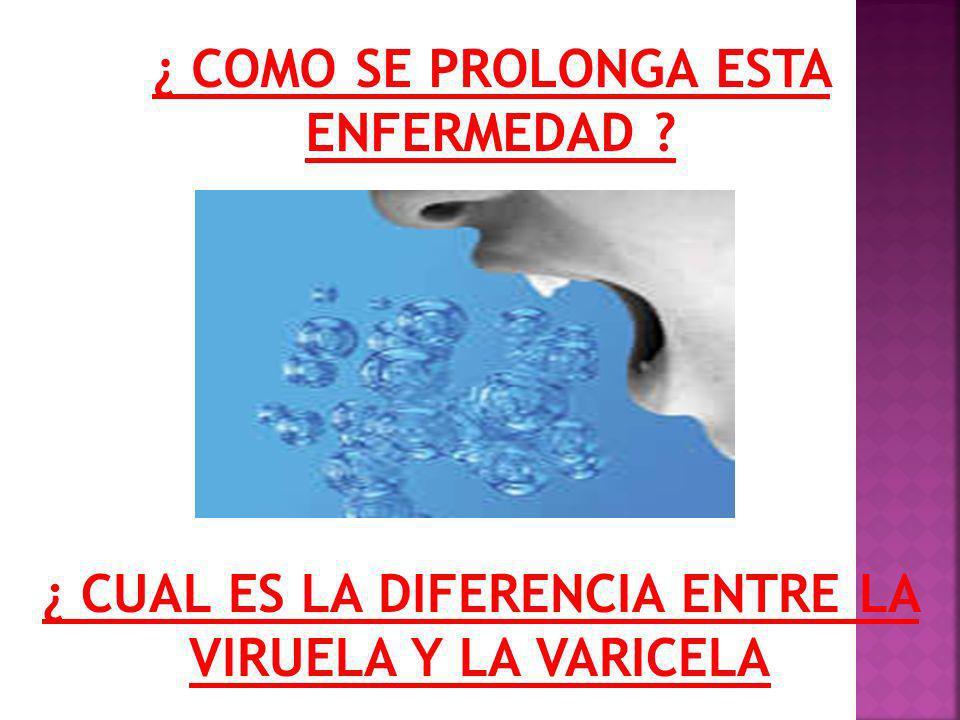 PARALELO ENTRE VARICELA Y VIRUELA FIEBRE ALTA DOLORES MUSCULARES HINCHAZON LESIONES PROFUNDAS COMUN EN PARTES CUBIERTAS DEL CUERPO SARPULLIDO MAS COMUN EN PARTES DESCUBIERTAS DEL CUERPO