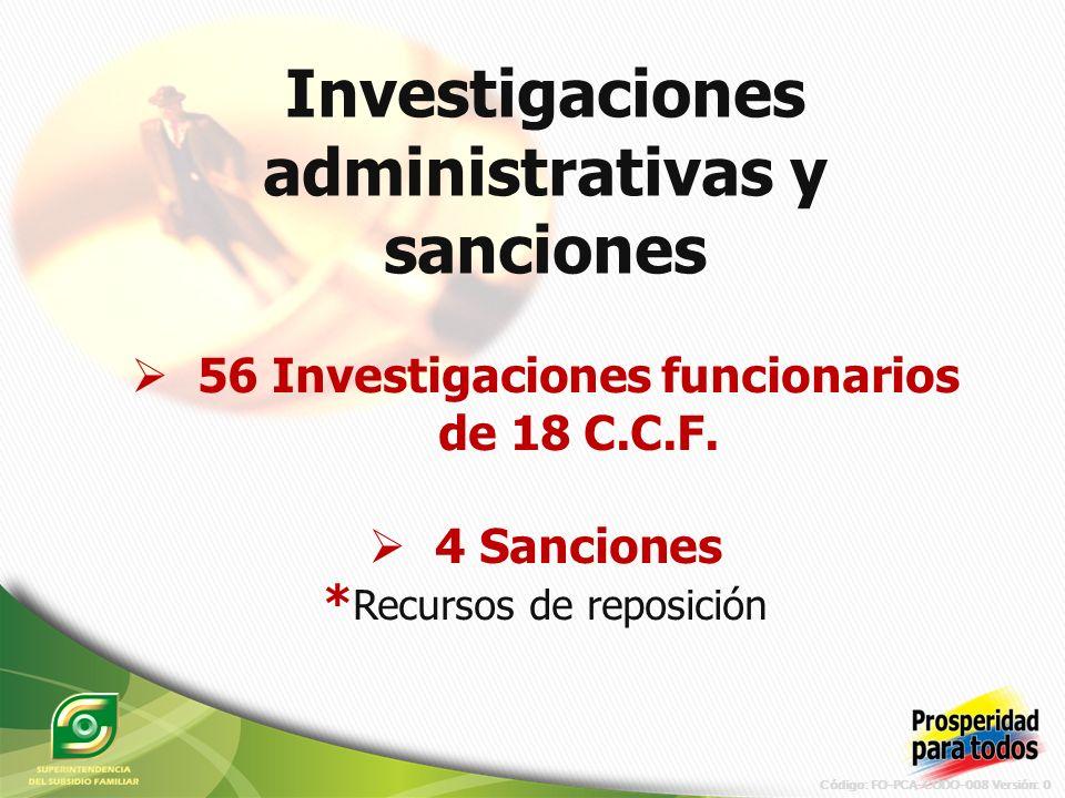 Código: FO-PCA-CODO-008 Versión: 0 Investigaciones administrativas y sanciones 56 Investigaciones funcionarios de 18 C.C.F.