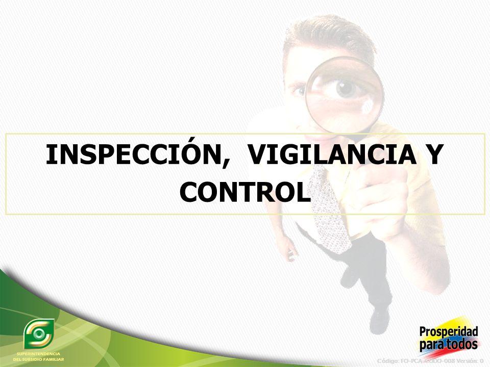 Código: FO-PCA-CODO-008 Versión: 0 Dar un giro organizacional a la metodología para la realización de las visitas de inspección a Cajas de Compensación y lograr un alcance mayor del proceso.