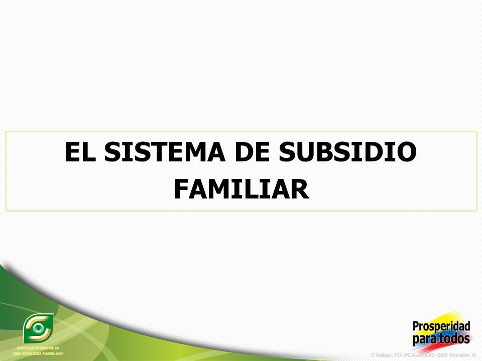 Código: FO-PCA-CODO-008 Versión: 0 EL SISTEMA DE SUBSIDIO FAMILIAR