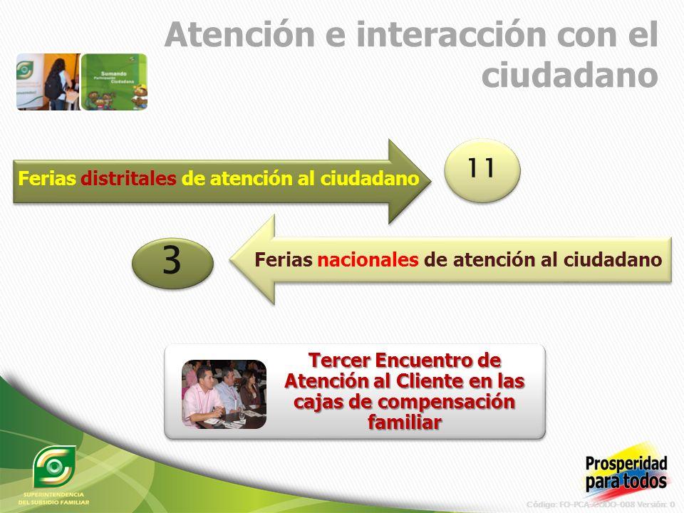 Código: FO-PCA-CODO-008 Versión: 0 Atención e interacción con el ciudadano Tercer Encuentro de Atención al Cliente en las cajas de compensación familiar Ferias distritales de atención al ciudadano Ferias nacionales de atención al ciudadano 11 3 3
