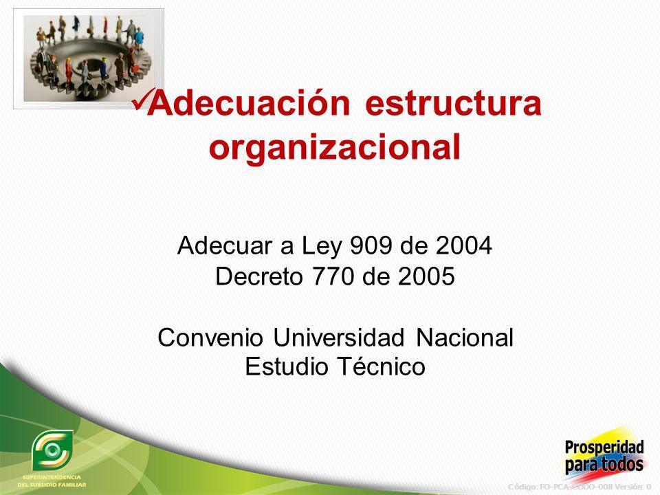 Código: FO-PCA-CODO-008 Versión: 0 Adecuación estructura organizacional Adecuar a Ley 909 de 2004 Decreto 770 de 2005 Convenio Universidad Nacional Estudio Técnico