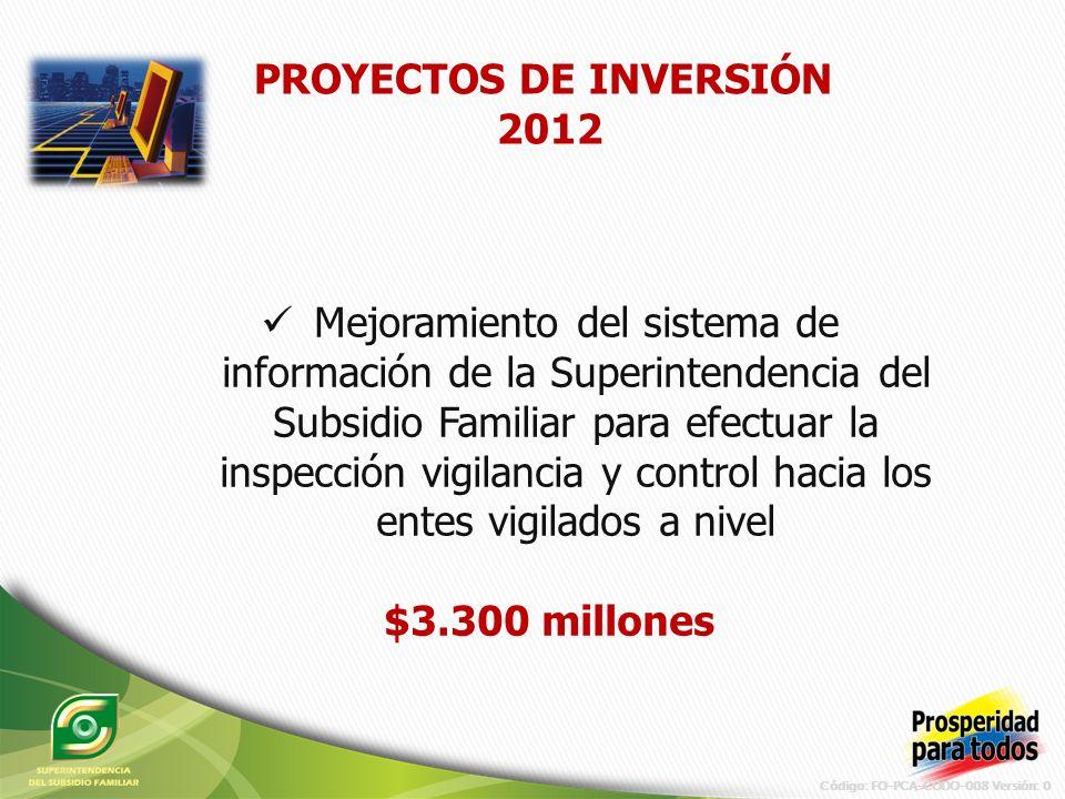 Código: FO-PCA-CODO-008 Versión: 0 Mejoramiento del sistema de información de la Superintendencia del Subsidio Familiar para efectuar la inspección vigilancia y control hacia los entes vigilados a nivel $3.300 millones PROYECTOS DE INVERSIÓN 2012