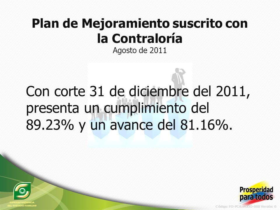 Código: FO-PCA-CODO-008 Versión: 0 Con corte 31 de diciembre del 2011, presenta un cumplimiento del 89.23% y un avance del 81.16%.