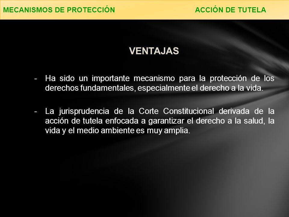 -Ha sido un importante mecanismo para la protección de los derechos fundamentales, especialmente el derecho a la vida.