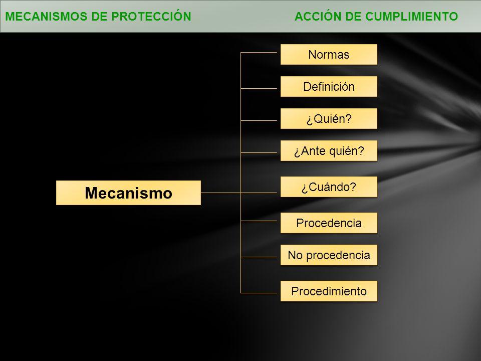 Mecanismo MECANISMOS DE PROTECCIÓN ACCIÓN DE CUMPLIMIENTO Normas ¿Cuándo.