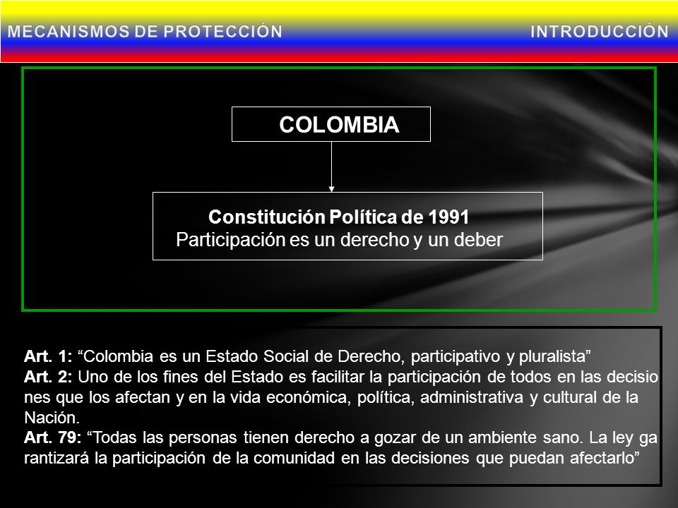 COLOMBIA Constitución Política de 1991 Participación es un derecho y un deber Art.